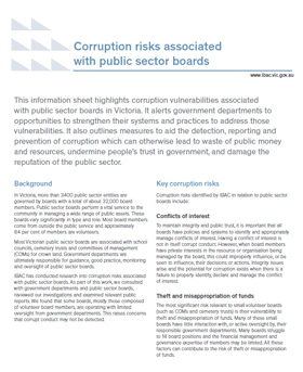 Corruption risks associated with public sector boards