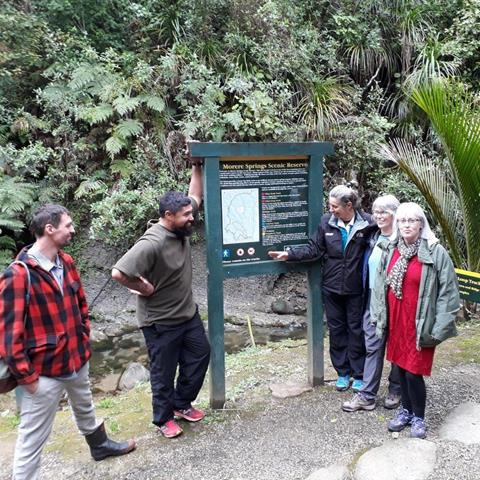 East Coast Hawkes Bay Conservation Board at Morere Springs.  Photo: DOC