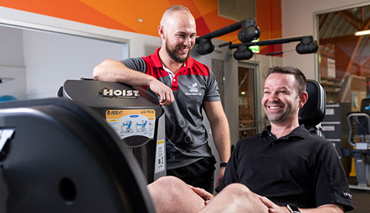 Yarra Leisure Personal Trainer Oliver Sanderson taking a client through a session