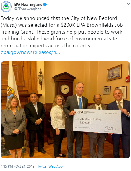 Tweet from EPA New England announcing that New Bedford, Mass. was selected for a $200K EPA Brownfields Job Training Grant.