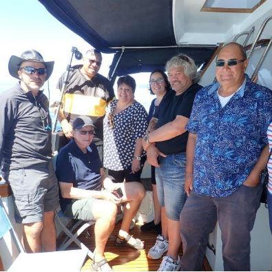 Conservation Board members and members of Te Kotahitanga o Ngāti Tūwharetoa (TKT) aboard M.V Solamaar on Lake Taupō.