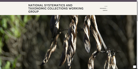 National Systematics and Taxonomic Collections Working Group website home page