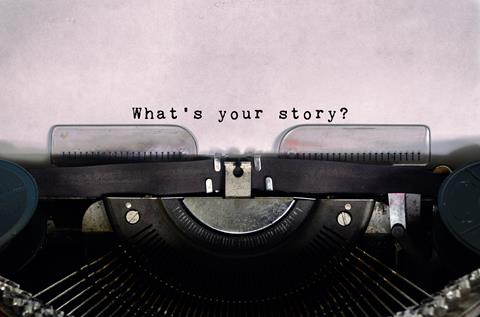 Typewriter with the words 'What's your story?'