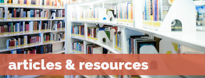 Articles & Resources banner, featuring a photograph of a library books on many shelves