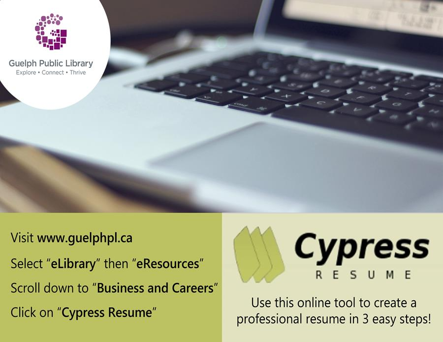 With your library card, you have free access to Cypress Resume. Use this online tool to create a professional resume in three easy steps.