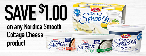Photo of coupon to save $1 on any Nordica Smooth Cottage Cheese product.