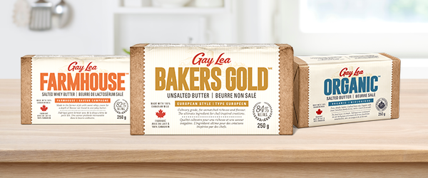 Gay Lea Specialty Butter flavour packs: Farmhouse, Bakers Gold, Organic Salted