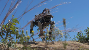 'Spot', a quadruped prototype robot, walks down a hill during a demonstration at Marine Corps Base Quantico.