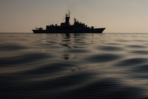 HMAS Arunta on patrol in the Middle East.
