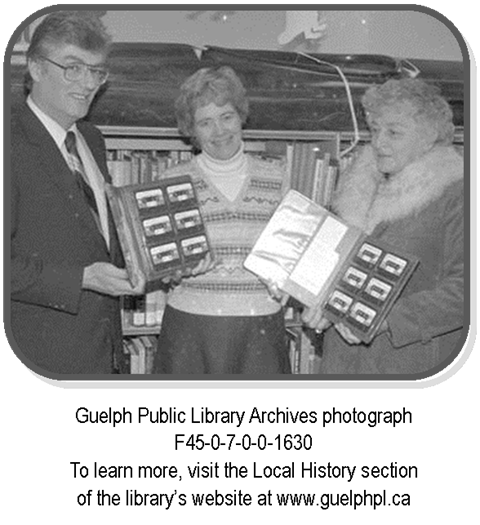 Guelph Public Library Archives photograph F45-0-7-0-0-1630 features Allison Stonehouse, Keith Lymburnerand Doris Allen from the Kinsmen Club and the Edward Johnson chapter of the IODE donating audiobooks to the library back in 1983.