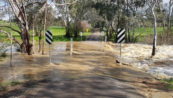 Flooding over bridge