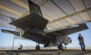 Corporal Cory Cochrane inspects an Australian F-35A on the flight line at Luke Air Force Base. Defence