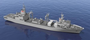 A rendered image of NUSHIP Supply. Credit: Navantia Australia