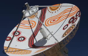 Indigenous artwork on the Alice Springs antenna.
