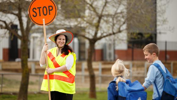 School children using a school crossing