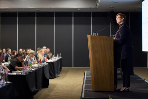 WIDA Patron Marise Payne, MInister for Defence, at a speech in April. 
