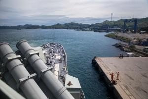 HMAS Anzac comes alongside Port Moresby, PNG. Defence