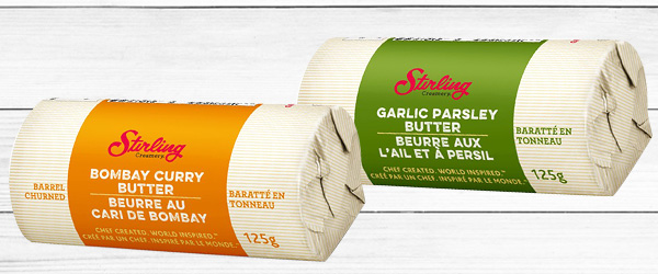 Photo of Stirling Creamery Bombay Curry Butter pack and Stirling Creamery Garlic Parsley Butter Pack.