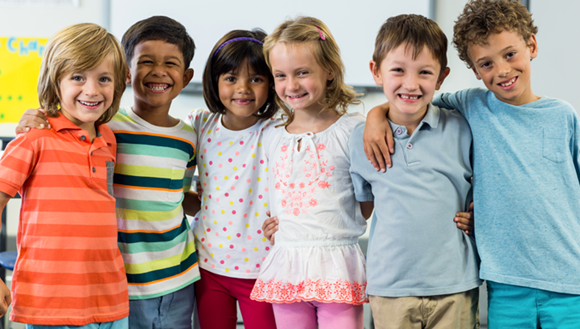 Group of young children standing together