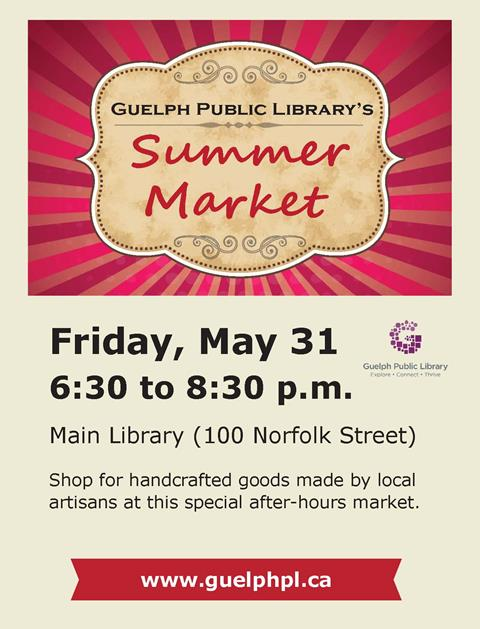Shop for handcrafted goods made by local artisans at our special after-hours market. Friday May 31 from 6:30 to 8:30 pm in the Main Library at 100 Norfolk Street.