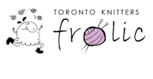 This is the logo for the Toronto Knitters frolic. It has an image of a sheep running and juggling balls of yarn.