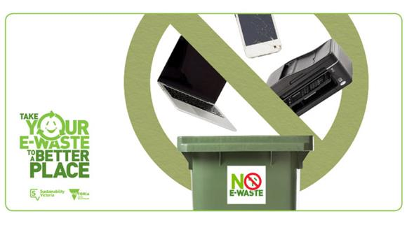 E-waste symbol and bin showing a laptop, mobile phone and printer. Take your e-waste to a better place.