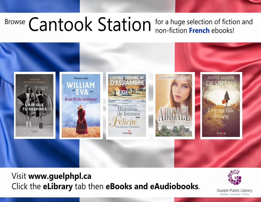 Browse Cantook Station for a large selection of fiction and non-fiction French eBooks! All you need is your library card.