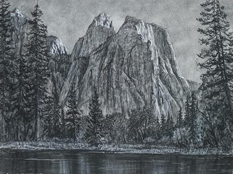 A precise charcoal drawing of Cathedral Rocks in Yosemite Valley