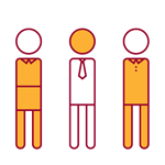 red and yellow icon of three people in a community