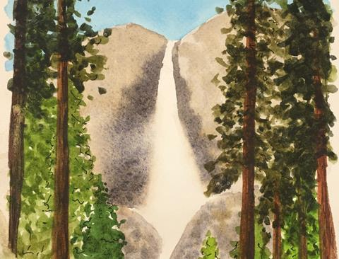 A close-up image of a watercolor painting depicting a waterfall and evergreen trees.