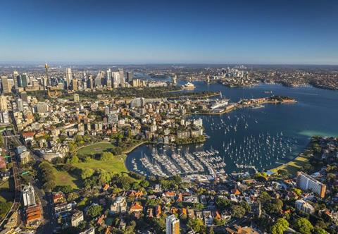 Aerial view of Rushcutters Bay, Sydney.