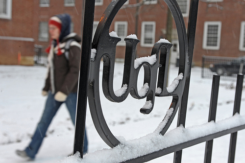 image of snowy campus with students