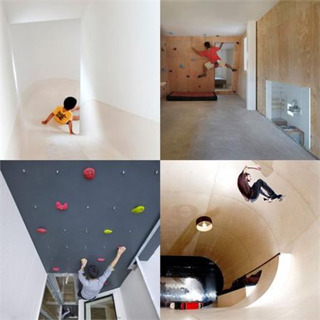 Climbing walls, slides, ladders and skateboards