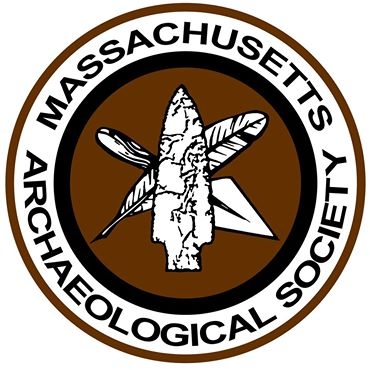 Image of the Massachusetts Archaeological Society's logo with a feather, spade, and projectile point at the center.