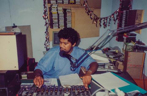 98.9FM broadcaster, Wayne Sandy, c.1994. Photograph courtesy of BIMA. 31942-0001-0043