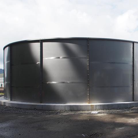 A buffer tank at Cashin Quay