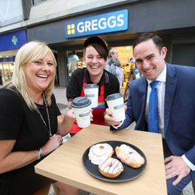 Sian Collins, Greggs Area Manager; Hayley MacDonald, Shop Manager and Ian Newbury, Cooke & Arkwright