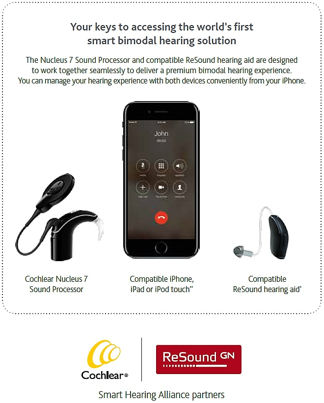 Image showing cochlear implant, iPhone and hearing aid