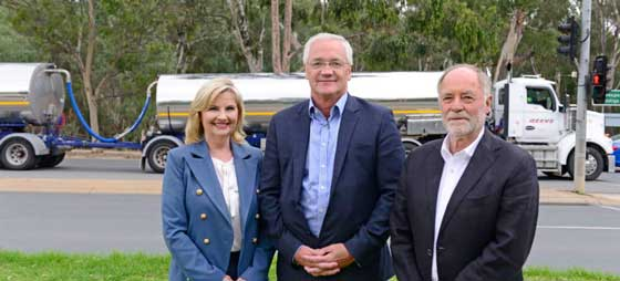 City of Greater Shepparton Mayor Kim O'Keeffe, Federal Member for Murray Damian Drum and Goulburn Valley Highway Shepparton Bypass Action Group chairman Peter Johnson talk about the long-awaited bypass