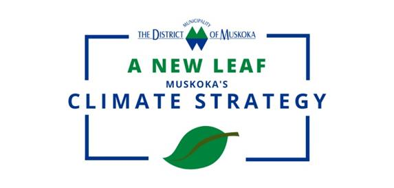 """Picture of District of Muskoka logo with """"A New Leaf—Muskoka's Climate Strategy"""