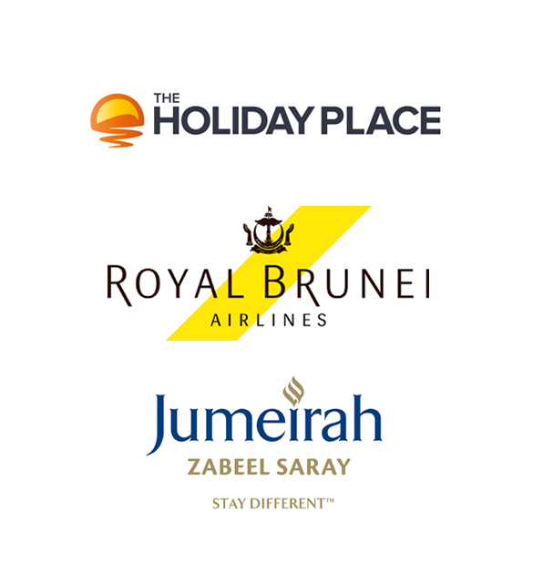 The Holiday Place, Royal Brunei Airlines and Jumeirah Zabeel Saray logos