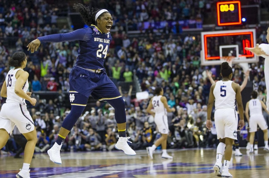 Notre Dame women's basketball player celebrating after winning game during March Madness