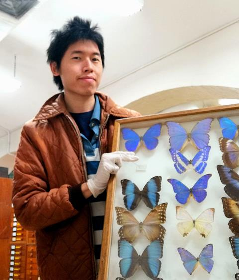 Matt Huan with butterflies