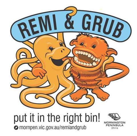 Mornington Peninsula bin mascots Remi and Grub