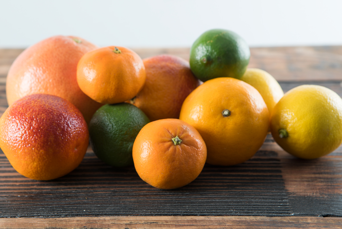 Oranges, tangerines, pomelos, grapefruits, and kumquats