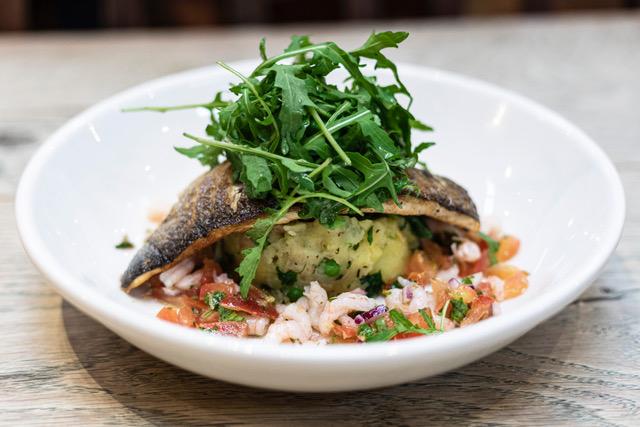 Fish on potato looking tasty