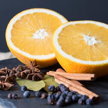 Oranges, capers and cinnamon sticks