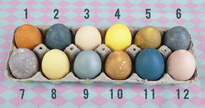 One dozen naturally dyed Easter Eggs
