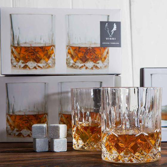 Viski Crystal Tumblers and Glacial Stone