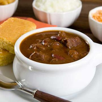 Bowl of chili with corn bread